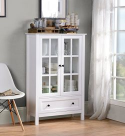 HOMESTAR Miranda Caninet with 2-Doors & 1-Drawer Glass, White