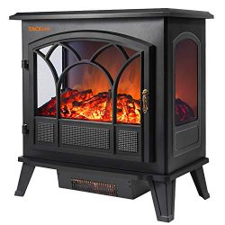 TACKLIFE Electric Fireplace Heater, 25 Inch Dual Temperature Control 750 W / 1500W Electric Fire ...