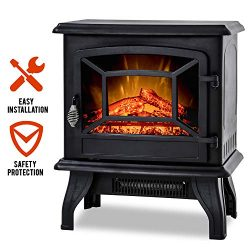FDW Electric Fireplace Heater 20″ Freestanding Fireplace Stove Portable Space Heater with  ...