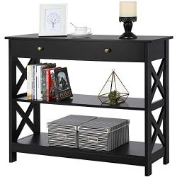 Yaheetech Console Sofa Table Classic X Design with Drawer and 3 Tier Storage Shelves – Ent ...