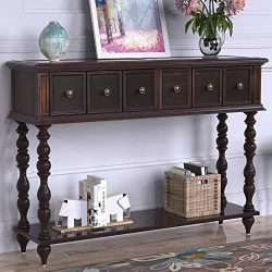Distressed Console Table Entryway Table with Two Exquisite Drawers and Bottom Shelf Antique Desi ...