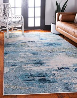 Unique Loom Chromatic Collection Abstract Modern Light Blue Area Rug (5′ 0 x 8′ 0)