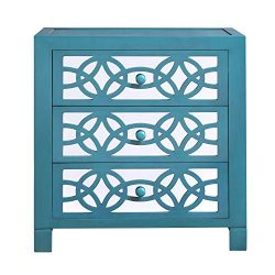 River of Goods Drawer Chest: Glam Slam 3-Drawer Mirrored Wood Cabinet Furniture, Teal