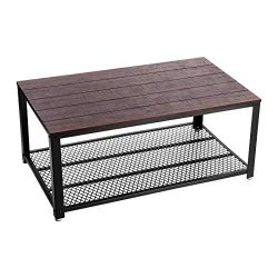 VASAGLE Coffee Table with Storage Shelf for Living Room, Industrial Design with Metal Frame, Eas ...