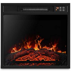 BELLEZE 18″ Embedded Electric Fireplace Insert Remote Heater Glass View Adjustable Log Fla ...