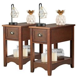 Giantex Chair Side End Table with Drawer, Retro Narrow Tiered Side Table, Compact Nightstand wit ...