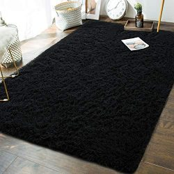 Soft Fluffy Bedroom Area Rugs – 5 x 8 Feet Indoor Modern Shaggy Plush Rug for Boys Kids Li ...
