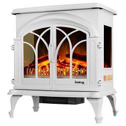 e-Flame USA 28″ XL Denali Portable Freestanding Electric Fireplace Stove – 3-D Log a ...