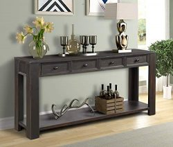 Console Sofa Table for Living Room, WeYoung Wood Entryway Table with Storage Drawers and Bottom  ...