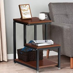 End Table, 3-Tier Side Table with Storage Shelf, Night Stand Table Rustic Sofa End Table for Liv ...