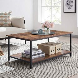AMOAK Industrial Coffee Table with Storage Shelf, Vintage Wooden Board with Stable Metal Frame,  ...