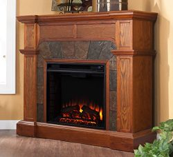 Southern Enterprises Cartwright Convertible Electric Fireplace, Mission Oak Finish with Earth To ...