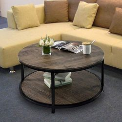 Round Coffee Table Rustic Vintage Industrial Design Furniture Sturdy Metal Frame Legs Sofa Table ...