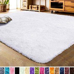LOCHAS Luxury Velvet Living Room Carpet Bedroom Rugs, Fluffy, Super Soft Cozy, Bright Color, Hig ...