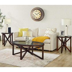 Picket House Furnishings Trinity 3 Piece Glass Top Coffee Table Set