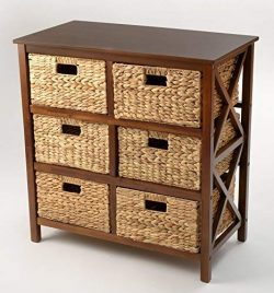 3 Tier X-Side Storage Cabinet with 6 Baskets (Walnut)