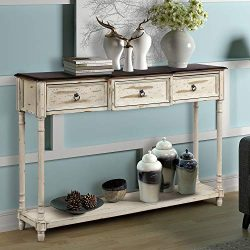 Console Table Sofa Table Sideboard Table with 3 Drawers Luxurious and Exquisite Design for Entry ...