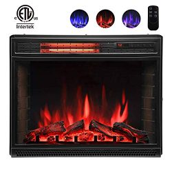 Lauraland 25 Inch Electric Fireplace Heater, Recessed or Floor Mount, Colorful Flame Option, Rem ...