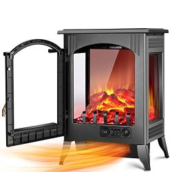 Electric Fireplace Heater – 1500W / 750W Infrared Electric Fireplace Stove with 3D Flame E ...