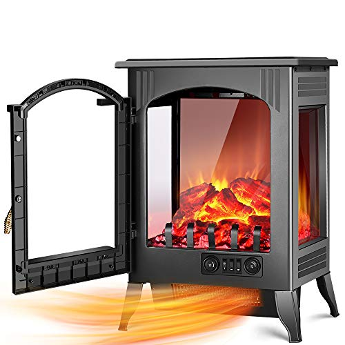 Electric Fireplace Stove – 1500W / 750W Infrared Electric Fireplace Heater with 3D Flame E ...