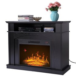 Sandinrayli 41″ Large 1500W Room Adjustable Electric Fireplace TV stand w/ Remote Control