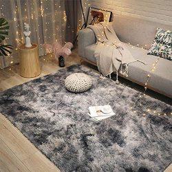 LOCHAS Luxury Velvet Shag Area Rug Modern Indoor Fluffy Rugs, Extra Comfy and Soft Carpet, Abstr ...