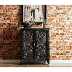 Pulaski Ornate Front Black Door Chest Accents