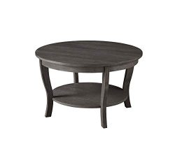Convenience Concepts, Dark Gray Wirebrush American Heritage Round Coffee Table