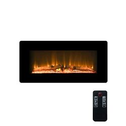 LOKATSE HOME 36″ 1400W Wall Mounted Freestanding Electric Fireplace Stove Heater with Real ...