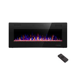 R.W.FLAME 42 inch Recessed and Wall Mounted,The Thinnest Fireplace Fit for 2 x 6 and 2 x 4 Stud, ...