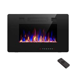 R.W.FLAME 30 inch Recessed and Wall Mounted Electric Fireplace, Fit for 2 x 4 and 2 x 6 Stud, Re ...