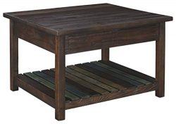 Signature Design by Ashley – Mestler Lift Top Coffee Table, Rustic Brown