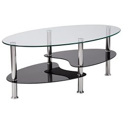 Flash Furniture Hampden Glass Coffee Table with Black Glass Shelves and Stainless Steel Legs , O ...