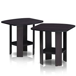 FURINNO Simple Design End Table, 2-Pack, Dark Walnut