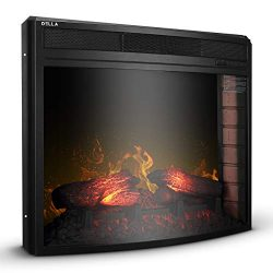 Della BELLEZE 28″ Curved Glass Insert Fireplace Electric Heater Embedded Flame Log Wall Mo ...