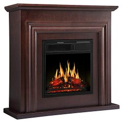 "JAMFLY 36"" Electric Fireplace with Mantel Package Freestanding Fireplace Heater Corner Fir ..."