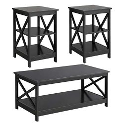 Yaheetech Wood Living Room 3-Piece Table Sets – Includes X-Design Coffee Table & Two 3 ...