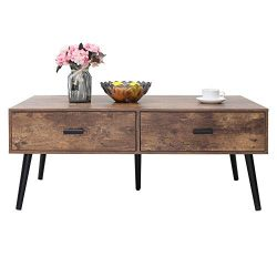 IWELL Mid-Century Coffee Table with 2 Drawer and Storage Shelf for Living Room, Cocktail Table,  ...