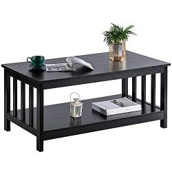 ChooChoo Black Wood Coffee Table for Living Room, Rectangle Mission Coffee Table with Shelf, 40  ...