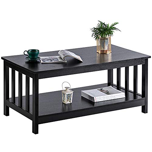 ChooChoo Black Wood Coffee Table for Living Room, Rectangle Mission Coffee Table with Shelf, 40  ...