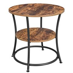VASAGLE DAINTREE Side Table, Round End Table with 2 Shelves, Living Room, Bedroom, Easy Assembly ...