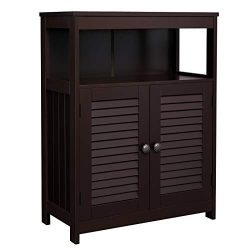 VASAGLE Bathroom Storage Floor Cabinet, Free Standing Cabinet with Double Shutter Door and Adjus ...