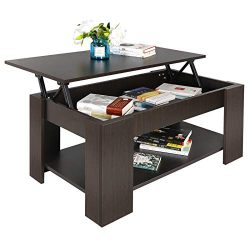 SUPER DEAL Lift Top Coffee Table w/Hidden Compartment and Storage Shelves Pop-Up Storage Cocktai ...