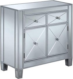 Convenience Concepts Gold Coast Vineyard 2-Drawer Mirrored Hall Table, Silver