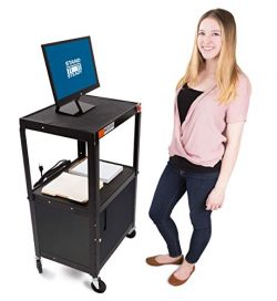Line Leader AV Cart w/Locking Cabinet – Height Adjustable Utility Cart – Includes Po ...