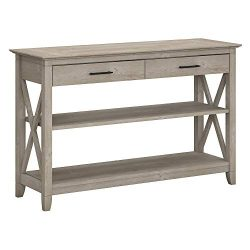 Bush Furniture Key West Console Table with Drawers and Shelves, Washed Gray