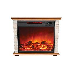 LIFE SMART Large Infrared Stone Remote Lifesmart Faux Electric Fireplace, Extra