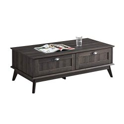 Newport Series Tall Center Coffee Table with Two Fully Extended Drawers | Sturdy and Stylish | E ...