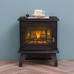 LOKATSE HOME 17″ Electric Fireplace Space Stove Heater Freestanding with Realistic Flame,  ...