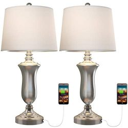 Oneach Modern USB Table Lamp Set of 2 for Living Room Bedroom Brush Steel Bedside Nightstand Lam ...